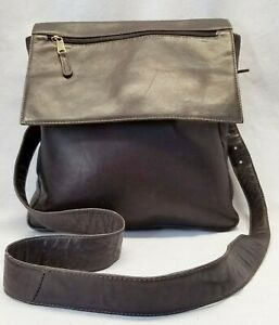 CROSSBODY CLAVA AMERICAN DARK BROWN LEATHER FLAP BAG PURSE TOTE SHOULDER