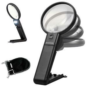 Maginon LED Lupe mit Licht Leselupe Handlupe Juwelierlupe Standlupe Tischlupe