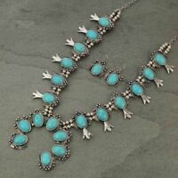 SQUASH BLOSSOM necklace set in silver tone and turquoise   26 inch adj.