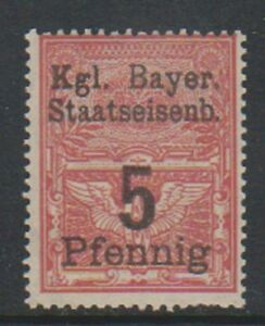 Bavaria - 5pf Rosso (Ferrovia Bollo Fiscale) Francobollo - MNH