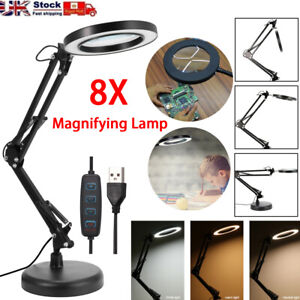 LED Desk RepairLamp 8X Magnifier Glass With Light Stand Clamp Beauty Magnifying