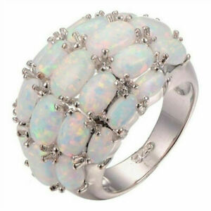 Fashion Vintage Fire Opal Pearl Ring Silver Women's Engagement Jewelry Oval