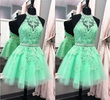 Short Mint Green Prom Dress with Lace Sequins Party Cocktail Homecoming Dress