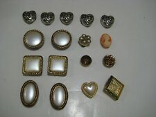 Rare Lot of 17 Antique VINTAGE BUTTON COVERS Sterling Silver, Gold Cameo Replica