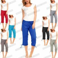 WOMENS LADIES ELASTICATED 3/4 SHORTS CROPPED TROUSERS POCKET COTTON SUMMER PANTS