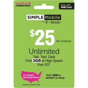 1 MONTH SIMPLE MOBILE $25 PLAN 30 Days Preloaded ($25 Value) INCLUDES 3GB LTE