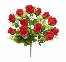 12 Silk Roses Red Silk Wedding Bouquet Flowers Bush Centerpieces Decor