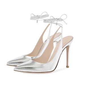 Women Fashion Pointed Kitten Heel High Heel Ankle Strap Sandals Dress Ball Shoes