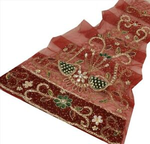 Tcw  Vintage Design Fabric Hand Beaded  Craft Maroon Rhinestone Work