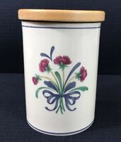 "Poppies On Blue Utensil Holder Or Canister Lenox Chinastone 5.75"" By 4.25"" USA"