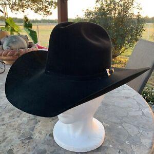 "Resistol 20X Beaver Black Gold Felt Hat 6 7/8 Long Oval 4"" Brim Cowboy Hat"