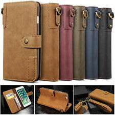 Retro Real Cow Leather Flip Wallet Case Cover Stand for iPhone & Samsung
