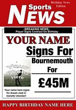 Football Personalised Bournemouth Birthday Greeting Card Add Photo Name age