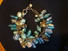 Blue Transparent Icy Flowers Woman Bracelet Jewelry Metal with Colour Stones