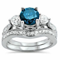2.88 Ct Blue Sapphire 14k White Gold Over Bridal Set Engagement Wedding Ring 7 8