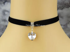 Black Velvet Collar Fashion Choker/Necklace Clear Crystal Heart Bridal/Party UK
