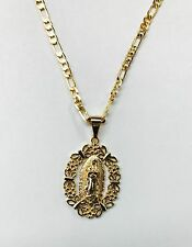 Virgen de Guadalupe y cadena Figaro en Oro Laminado