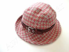 New Coach Pink Houndstooth 100% Wool Bucket Hat size M / L