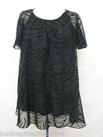 PLUS SIZE BLACK TOP KANEVA LINED ANIMAL PRINT SHORT SLEEVED