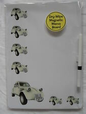 CREAM CITROEN 2CV CAR DRY WIPE MAGNETIC FRIDGE MEMO BOARD + PEN.NEW