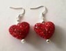 SHAMBALLA BRIGHT RED HEART DROP EARRINGS WITH AUSTRIAN CRYSTAL DISCO BEAD-UK