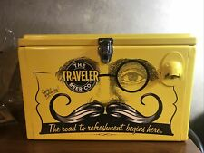 The Traveler Beer Co. Metal Yellow Cooler, Rare Advertising Collectable