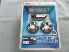 COBY MP3 MINI STEREO SPEAKER COMBO W/ AUDIO PLAYER - NIB - 1GB - 500 SONGS