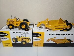 Cat DW20 Tractor & 456 Scraper - First Gear 1:25 Scale 49-0218 & 49-0247 New!