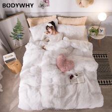White Long Hair Bed Skirt Suit Plus Velvet + Velvet Duvet Thickening Keep Warm