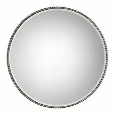 Beaded Round Silver Wall Mirror | Vanity Minimalist Simple