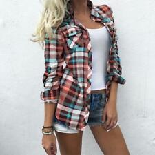 Fashion Women's Cotton Long Sleeve Casual Plaid Turn Down T-Shirt Tops Blouse