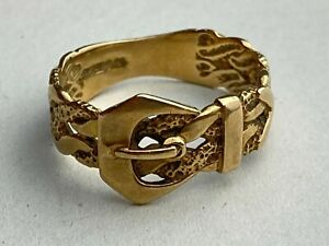 """9ct .375 Vintage Yellow Gold Buckle Ring Size UK """"R"""" Ship Worldwide"""
