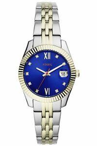 Fossil SCARLETTE MINI Uhr Damenuhr Edelstahl Datum bicolor ES4899
