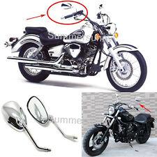 MOTORCYCLE CHROME OVAL REAR VIEW MIRRORS FOR KAWASAKI HONDA CHOPPER CRUSIER 10MM