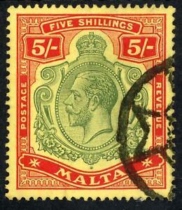 Malta 1917 KGV 5/- Green and Red/Yellow F/U SG 88 Cat £110