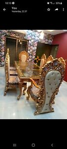 Luxury PURE WOOD ,hand Crafted Dinning table and chairs 8