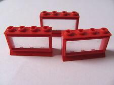 LEGO 453bc01 @@ Window 1 x 4 x 2 (x3) Extended Lip, Glass