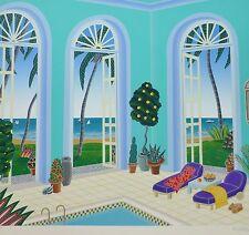 "THOMAS McKNIGHT Palm Beach II ""Pool Pavilion""  HAND SIGNED Orig Serigraph 1991"