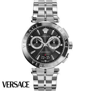 Versace VE1D01520 Aion Chronograph schwarz silber Edelstahl Herren Uhr NEU