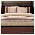 400TC 100% Cotton Latte Rust Stylish Embroidery 3pc QUEEN QUILT DOONA COVER SET