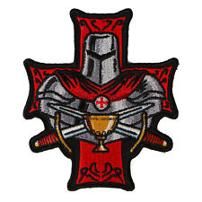 Embroidered Templar Holy Grail Christian Red Knight Iron on Patch Biker Patch