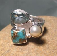 925 silver copper turquoise/pearl/topaz cocktail ring UK L-L¼/US 6. Gift Bag.