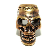 Skull Gothic Bronze Beard Bead Ring - dreadlock hair