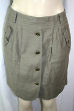 Anne Klein Sz 4 Light Olive Green Button Front Cotton Linen Blend Pencil Skirt
