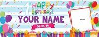"""Personalized Happy 1st Birthday Banner with Photo Text Design Background 18""""x4'"""