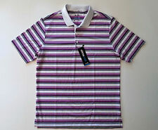 ADIDAS CLIMACOOL SPORT STRIPES WHITE/PURPLE GOLF POLO SHIRT (MEDIUM) -- NEW