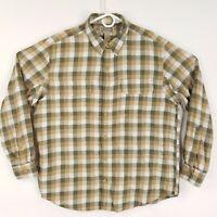 Duluth Trading Company Men's XL Flannel Shirt Plaid Tan Green White