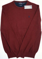 Orig $98 Polo Ralph Lauren Pima Cotton Long Sleeve Mens Burgundy Red Sweater NWT