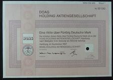 1 Aktie über 50 DM: DOAG Holding Aktiengesellschaft. 1987. entwertet