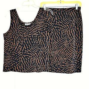 Kasper ASL Petite Womens 2 PC Skirt Set Black Brown Size 6P